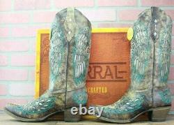 Corral Ladies Brown Wings and Cross Inlay Leather Cowgirl Boots A3402 Size 9M