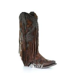 Corral Ladies Honey Leopard Fringe and Studded Snip Toe Boots A3618
