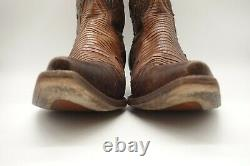 Corral Vintage Brown Leather Lizard Print Inlay Cowboy Western Boots Mens 10.5 D