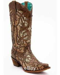 Corral Women's Boots Western Cowboy Brown Orix Glitter C3331 Boot Sz 8 NIB