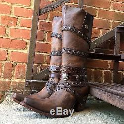 Corral Women's Edgy Brown Leather Boots With Straps C2970 Last Pairs Sale