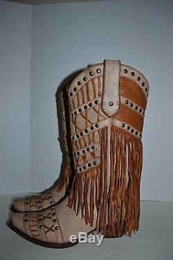 Corral Women's Studded Fringe LAYERED WESTERN 9 M Cowgirl Boot Snip Toe C2988