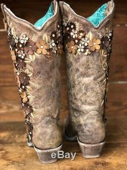 Corral Women's Tobacco Floral Overlay Snip Toe Western Boots A3602 SALE