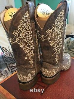 Corral Womens Brown Crater Bone Embroidery Western Boots