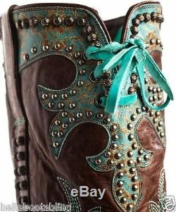 DDL001-1 Double D Ranch Turquoise Brown Ammunition Rivetted Western Boots