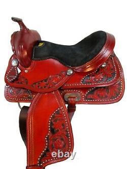 Deep Seat Western Barrel Saddle Horse Pleasure Trail Tooled Leather Tack 16 17