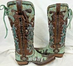 Double D Ranch Ladies 15 Inch Cowboy Boots Cross DDL001-1 Turquoise/Brown $790