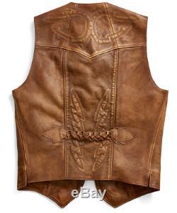 Double Ralph Lauren RRL Mens Limited Edition of 50 Western Leather Bolton Vest