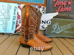 EL DORADO MEN'S CAIMAN BELLY WESTERN BOOTS Crocodile Vamps 9.5D Tan