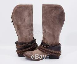 Excellent $325 Sz 9 Freebird By Steven Knox Stone Distressed Boots Belts Chains