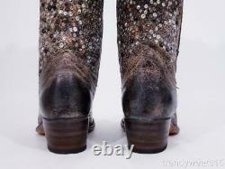 Excellent $698 Sz 8.5 Frye 77860 Deborah Studded Tall Anthracite Western Boots