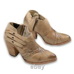 FREEBIRD BY STEVEN GATE LEATHER ANKLE BOOT BROWN Women's Size 10