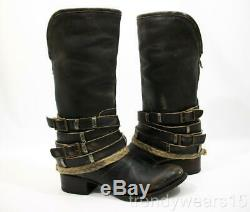 Fast Ship! Euc Sz 7 Freebird By Steven Drove/drover Black Brown Distressed Boots