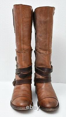 Freebird by Steven Dakota Rugged Hand-Distressing Leather Western Belted Boots 8