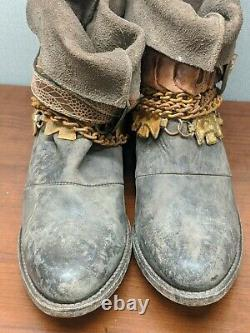 Freebird by Steven Yerba Distressed Leather Chain&Buckle Embellished Shaft Boots