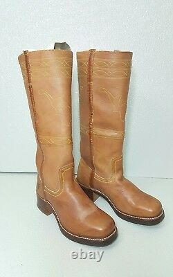 Frye Campus Stitching Horse-ridding Women Brown Leather Boot Sz 8 M
