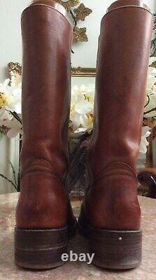 Frye Men's Campus Brown Leather Square Toe Riding Boots Size 11D #2934 EUC $398