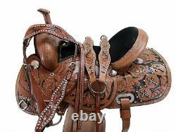 Gaited Western Horse Saddle 16 15 Pleasure Trail Floral Tooled Leather Tack Set