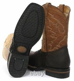 Grinders Frontier Tan Brown Leather Cowboy Boot Slip On Square Toe Front Boots