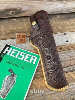 HH Heiser 721 Western Mexican Floral Carved Leather Lined Holster Large 22 Auto