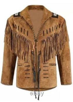 Handmade Men's Native American Buckskin Leather Western Jacket Coat With Fringe