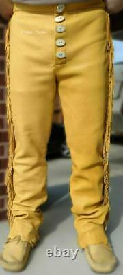 Handmade Men's Native American Suede Leather Western Wear Style Pant
