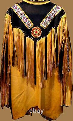 Handmade Native American Western Wear Suede Leather Jacket Fringes & Beads Work