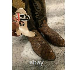 JUSTIN BOOTS BROWN ANTEATER boots SIZE 10.5D VINTAGE BOOTS ROUND TOES EXTINCT