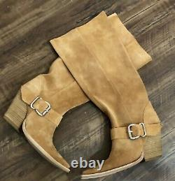 Jeffrey Campbell Suede Boots Slouchy tan brown Western Style Buckle 7 NEW