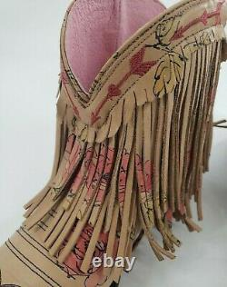 Junk Gypsy by Lane Boots Spitfire Floral Fringe Women's Western Booties Size 9