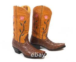Jurassic Ranch Donna Jean Brown Ostrich Cowboy Boots Wm's 7.5B Inlaid Excellent