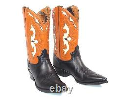Justin Brown Tan Inlaid Cowboy Boots Wmns Size 9B Cutout Pee Wee Worn Twice