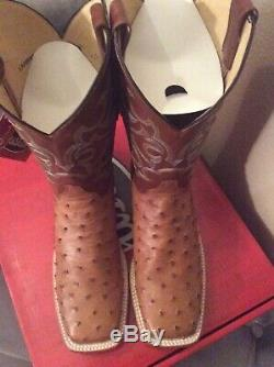 Justin Ostrich Full Quill Western Boots size 10.5