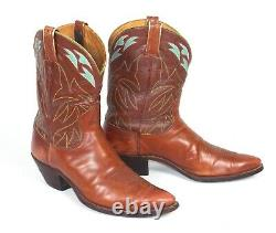 Justin Vintage 60's Brown Cowboy Boots Mns Sz12D Pointy Toes Tall Heels Inlaid