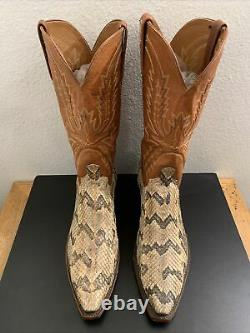 LUCCHESE 1883 RATTLE SNAKE SKIN WESTERN BOOTS N841354 Men 10.5 D