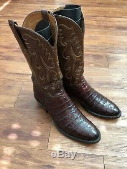 LUCCHESE CLASSICS BROWN ALLIGATOR BELLY MENS COWBOY BOOTS Sz 10 HANDMADE
