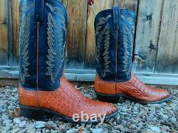 LUCCHESE CROCODILE CAIMAN COWBOY BOOTS 10D VERY NICE! Alligator