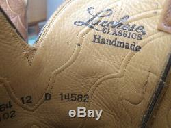 LUCCHESE handmade CLASSICS Exotic Cognac ALLIGATOR-Crocodile cowboy boots 12 D