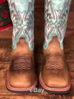 Laredo Women's Brown & Turquoise Square Toe Western Boots 5607