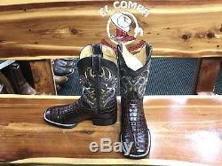 Leather Crocodile Tail Gator Square Toe Boots Botas Cuadradas Rodeo De Piel Cola