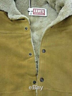 Levis Vintage Mens Suede sherpa trucker jacket Button Fly Western Medium NWT