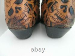 Liberty Boot Men's Size 11.5D Leather Western Cowboy Boots Tooled Skulls Brown