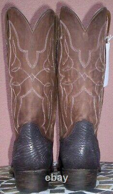 Lucchese Carl, Chocolate Sanded Shark Skin Boots, Style # M3105, Size (12 D)