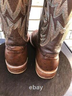 Lucchese Cigar Brown Full Quill Ostrich Cowboy Western Boots Ropers 11 D