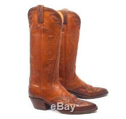 Lucchese Classics Brown Cowboy Boots Women's 7.5B Tall Wingtip Overlay