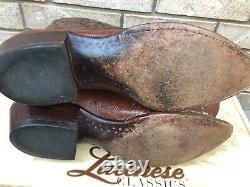Lucchese Classics Cognac Teju Lizard Cowboy Western Boots 10 D $1499.99