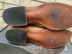 Lucchese Cowboy Collection Burnished Brown Ostrich Square Toe Cowboy Boots 10 D