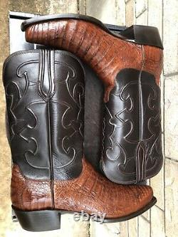 Lucchese Shovel Toe Caiman Alligator Belly Cowboy Western Boots USA Made 11 D