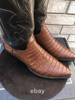 Lucchese Snip Toe Caiman Alligator Belly Cowboy Western Boots USA Made 12 Ee
