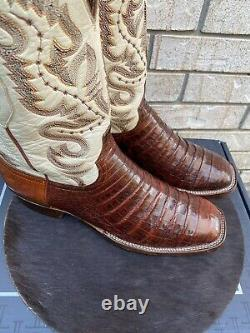 Lucchese Sport Rust Square Toe Caiman Alligator Belly Cut Cowboy Boots 10.5 D
